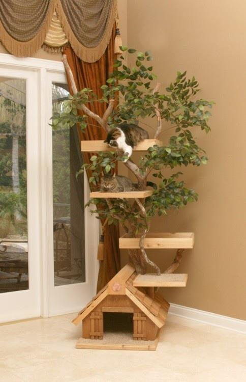 Awesome diy cat tree house leilaworldblog for Diy cat tree