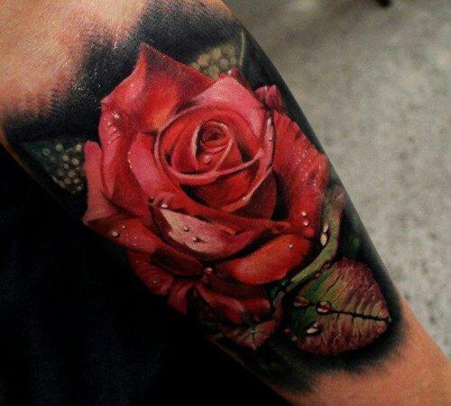 3D Red Rose Arm Tattoo   leilaworldblog